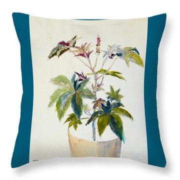 Castor Bean Plant Throw Pillow