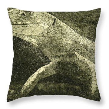 casual meeting Reptile Viviparous Lizard  Lacerta vivipara Throw Pillow
