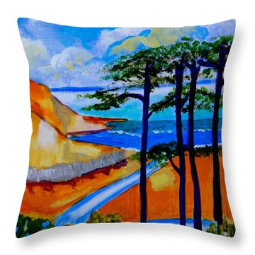 Caswell Bay Wales Throw Pillow