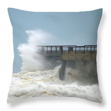 0828 Cat 1 Hurricane Isaac Crashes Into Navarre Beach Pier Throw Pillow by Jeff at JSJ Photography