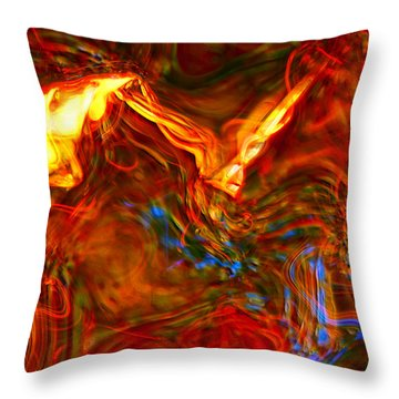 Throw Pillow featuring the digital art Cat And Caduceus In The Matmos by Richard Thomas