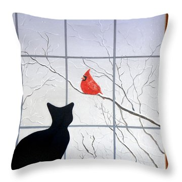 Cat And Cardinal Throw Pillow
