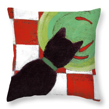Cat And Goldfish Throw Pillow