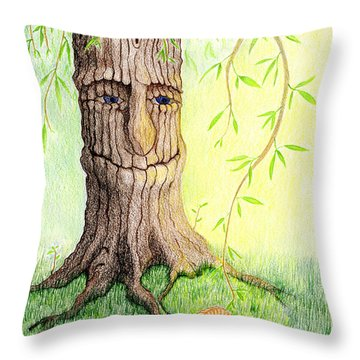 Throw Pillow featuring the drawing Cat And Great Mother Tree by Keiko Katsuta