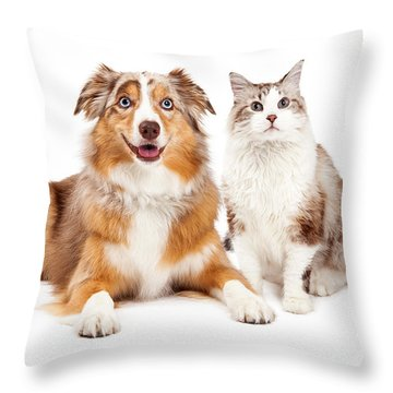 Cat And Happy Dog Together Throw Pillow