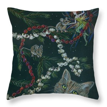 Cat And Mouse Throw Pillow by Dawn Fairies