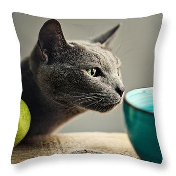 Cat And Pears Throw Pillow