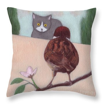 Cat And Sparrow  Throw Pillow