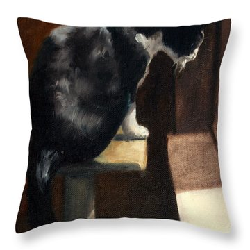 Cat At A Window With A View Throw Pillow by Lisa Phillips Owens
