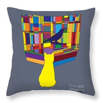 Cat Bird Pop Throw Pillow