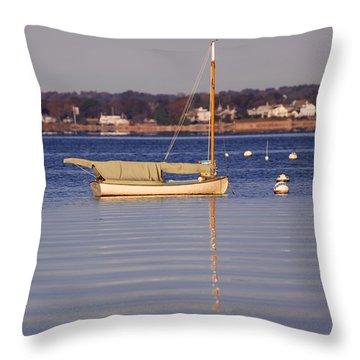 Cat Boat Throw Pillow