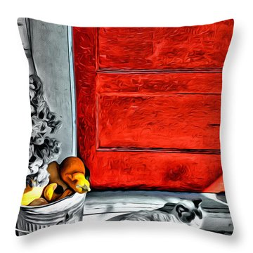 Cat By The Red Door Throw Pillow
