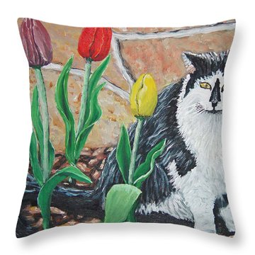 Cat By The Tulips  Throw Pillow