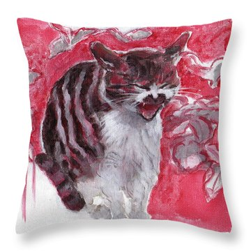 Cat Complains  Throw Pillow