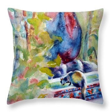 Cat Drinking Fountain Throw Pillow