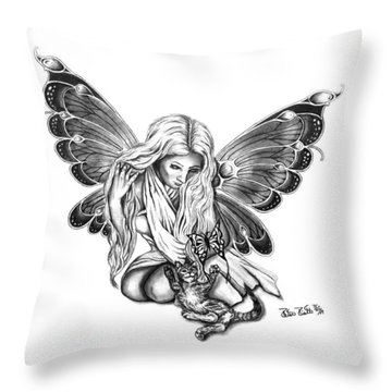 Cat Fairy  Throw Pillow by Peter Piatt
