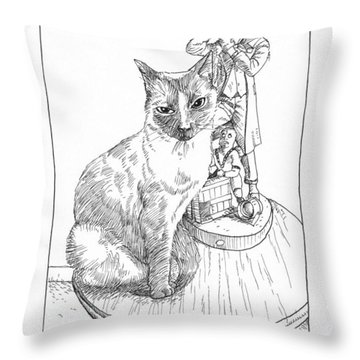 Cat Girl And The Joker Throw Pillow