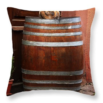 Cat Guarding A Wine Barrel In Alsace Throw Pillow by Greg Matchick