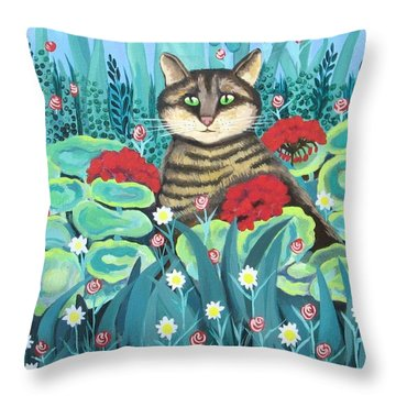 Cat Hiding In The Rainforest Throw Pillow