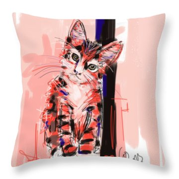 Throw Pillow featuring the painting Cat I See You by Go Van Kampen