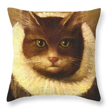 Cat In A Ruff Throw Pillow