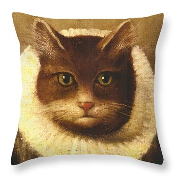 Cat In A Ruff Throw Pillow
