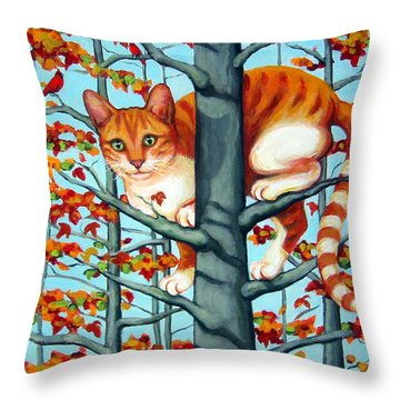 Orange Cat In Tree Autumn Fall Colors Throw Pillow by Rebecca Korpita