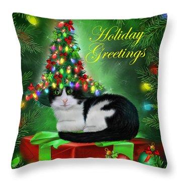 Cat In Christmas Tree Hat Throw Pillow by Carol Cavalaris