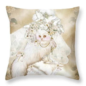 Cat In Fancy Bridal Hat Throw Pillow by Carol Cavalaris