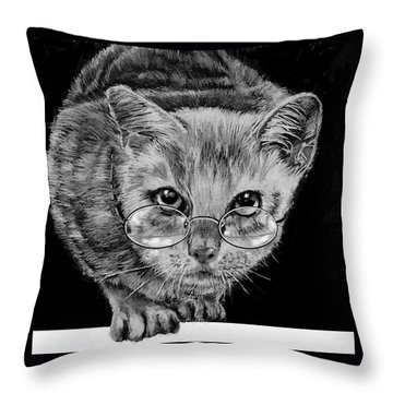 Cat In Glasses  Throw Pillow by Jean Cormier
