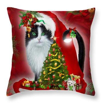 Cat In Long Santa Hat Throw Pillow by Carol Cavalaris