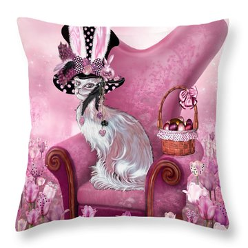 Cat In Mad Hatter Hat Throw Pillow by Carol Cavalaris