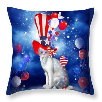Cat In Patriotic Hat Throw Pillow by Carol Cavalaris