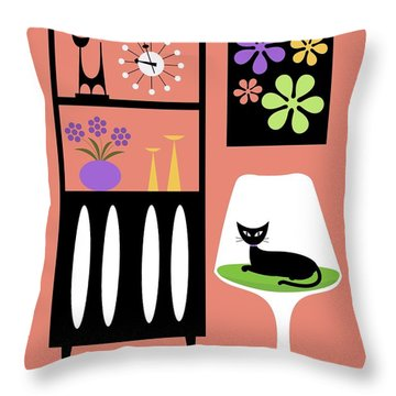 Cat In Pink Room Throw Pillow by Donna Mibus
