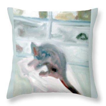 Cat In The Garage On A Mat Throw Pillow