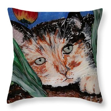 Cat In The Grass Throw Pillow by Cathy Weaver