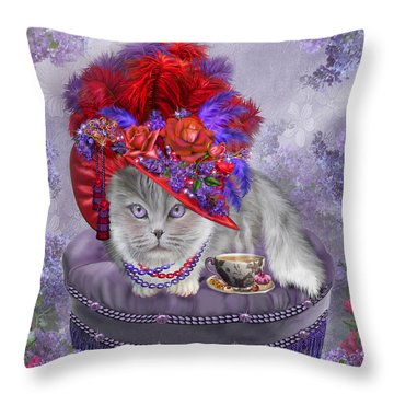 Cat In The Red Hat Throw Pillow by Carol Cavalaris