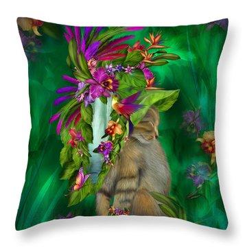 Cat In Tropical Dreams Hat Throw Pillow by Carol Cavalaris