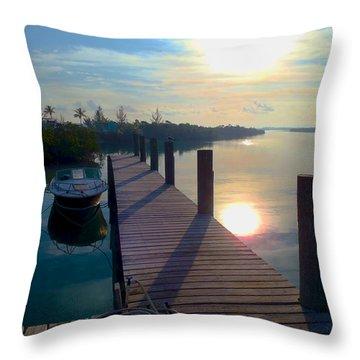 Cat Island Dock Throw Pillow by Carey Chen