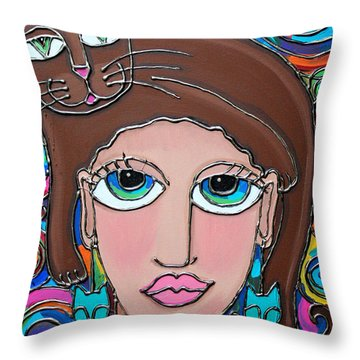 Cat Lady With Brown Hair Throw Pillow