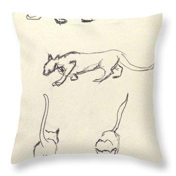 Cat Lines Throw Pillow