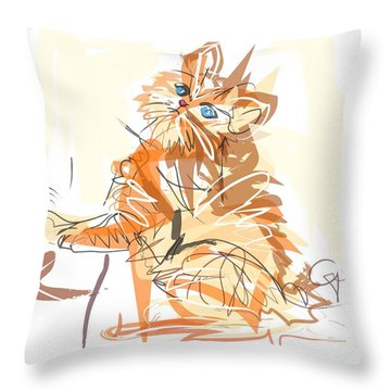 Throw Pillow featuring the painting Cat Little Tiger Kitty by Go Van Kampen