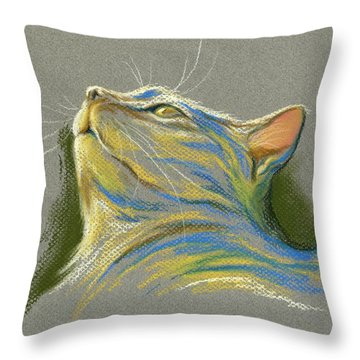 Cat Looking Up To Heaven Throw Pillow