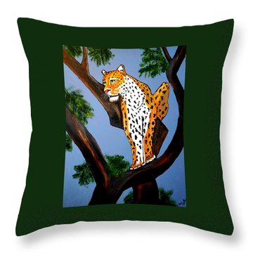 Cat On A Hot Wood Tree Throw Pillow
