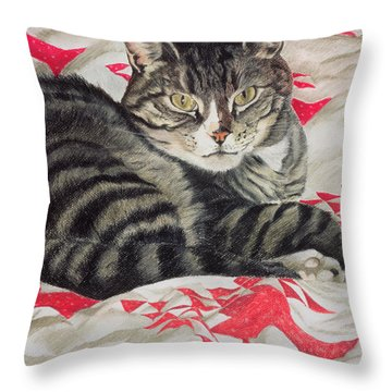 Cat On Quilt  Throw Pillow by Anne Robinson