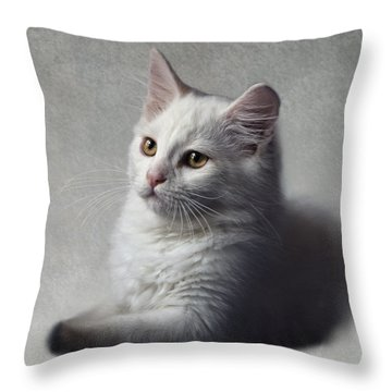 Cat On Texture - 02 Throw Pillow