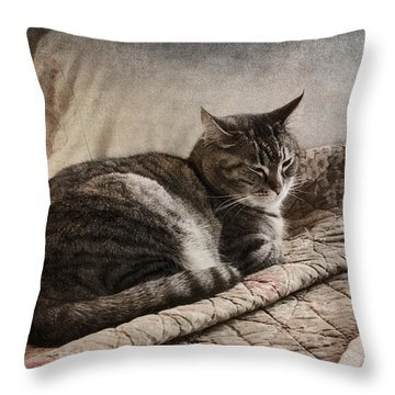 Cat On The Bed Throw Pillow by Carol Leigh