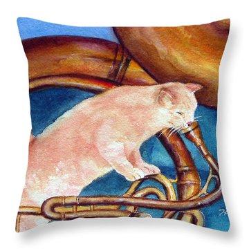 Cat On Tuba Throw Pillow