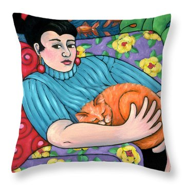 cat painting - Dandylions Dream Throw Pillow