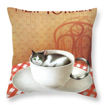 Cat Sits Inside A Coffee Cup Throw Pillow